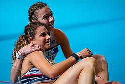Femke Bol, Laura De Witte in action on the 400 meter during AA Drink Dutch Athletics Championship Indoor on 20 February 2021 in Apeldoorn.