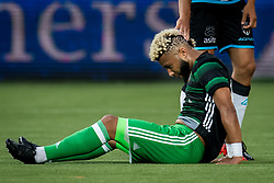 Tonny Vilhena of Feyenoord with Tonboom shaved in his hair during the Dutch Eredivisie match between Heracles Almelo and Feyenoord Rotterdam at Polman stadium on September 09, 2017 in Almelo, The Netherlands