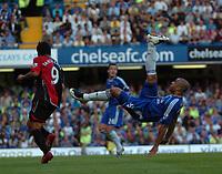 Photo: Tony Oudot.<br /> Chelsea v Blackburn Rovers. The FA Barclays Premiership. 15/09/2007.<br /> Alex of Chelsea clears from Roque Santa Cruz of Blackburn