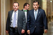 Senators Mike Lee (R-UT) and Ted Cruz (R-TX) walk to the Senate floor to vote in the United States Capitol in Washington, D.C., U.S., on Wednesday, Oct. 16, 2013. Senators voted 81-18 to end the shutdown and avoid a possible default. The GOP-led House is expected to follow suit. Photographer: Pete Marovich/Bloomberg  *** Local Caption ***