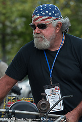 Rick Salisbury of Utah after crossing the finish line in Springfield, MO. Motorcycle Cannonball Race of the Century. Stage-6 from Cape Girardeau, MO to Springfield, MO. USA. Thursday September 15, 2016. Photography ©2016 Michael Lichter.