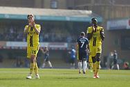 Burton Albion midfielder Alex Bradley (15) and Burton Albion forward Lucas Akins (10) applaud the fans during the EFL Sky Bet League 1 match between Southend United and Burton Albion at Roots Hall, Southend, England on 22 April 2019.