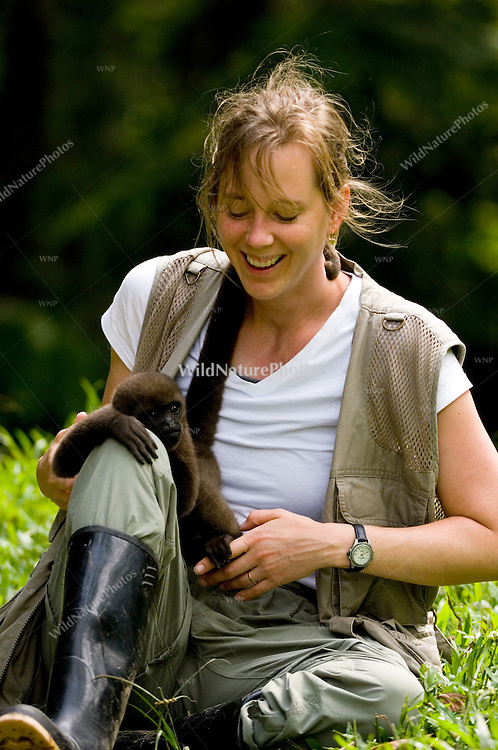 A photographer and a Woolly Monkey bonding.