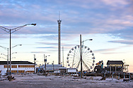 Seaside Heights November 3, 2012,  Section of the boardwalk and Seaside Amusement Park that remained standing after Hurricane Sandy . A six alarm fire burnt down the newly rebuilt boardwalk and the structures that remained after Sandy on  September 12, 2013