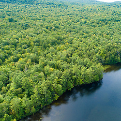 The Virgil Parris Forest contains shoreline on South Pond in Buckfield, Maine. Aerial view.