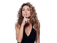 beautiful caucasian woman shush sign portrait isolated studio on white background