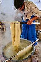 Inde, état d'Uttar Pradesh, Varanasi (Bénarès), teinture de la soie destinée à la fabrication des sari // Asia, India, Uttar Pradesh, Varanasi (Benares), dayeing of silk for sari