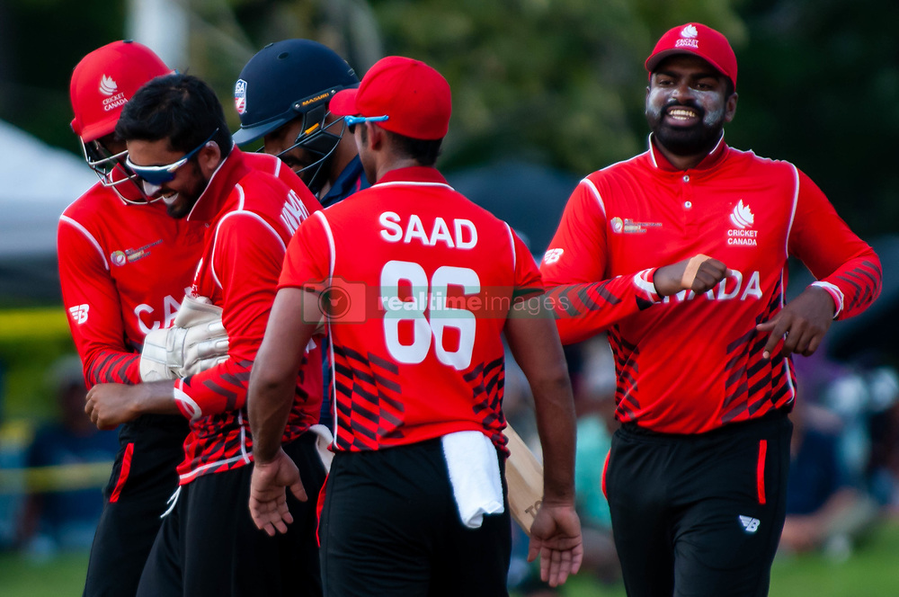 September 22, 2018 - Morrisville, North Carolina, US - Sept. 22, 2018 - Morrisville N.C., USA - Team Canada celebrates during the ICC World T20 America's ''A'' Qualifier cricket match between USA and Canada. Both teams played to a 140/8 tie with Canada winning the Super Over for the overall win. In addition to USA and Canada, the ICC World T20 America's ''A'' Qualifier also features Belize and Panama in the six-day tournament that ends Sept. 26. (Credit Image: © Timothy L. Hale/ZUMA Wire)