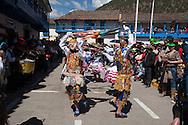 """Feast of """"Mamacha del Carmen"""" of Paucartambo. Contradanza in the square before it reaches the Mamacha"""