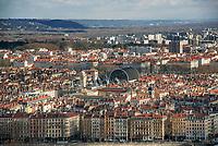 Lyon. Vue generale sur l'Opera depuis Fourviere
