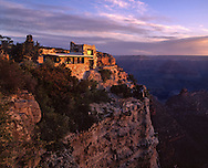 Lookout Studio, Mary Colter, building, sunrise, South Rim, Grand Canyon, National Park, Arizona, gold
