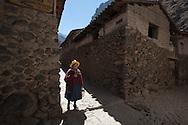 In the historic center of Ollantaytambo