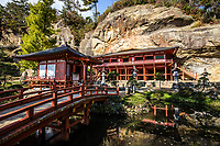 """62. Takkoku-no-Iwaya 達谷窟 was built into the rock wall of a cliff 1,200 years ago during the Heian period.  The original Takkoku-no-Iwaya Bishamon Temple burned down and its original form is unknown today. The current building was reconstructed in 1961 and modeled after Kiyomizu in Kyoto. Takkoku-no-Iwaya was dedicated to the god of warriors in the 9th century during the Japanese expansion northwards and ensuing battles with the indigenous Emishi people.  Officially, Takkoku-no-Iwaya is still on UNESCO's """"tentative list"""" as an addition to Hiraizumi sites."""