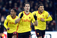 Daryl Janmaat of Watford © celebrates after scoring his teams first goal. Premier League match, Crystal Palace v Watford at Selhurst Park in London on Tuesday 12th December 2017. pic by Steffan Bowen, Andrew Orchard sports photography.