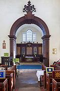 Village parish church Shotley, Suffolk, England, UK chancel arch and altar
