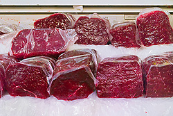 minke whale meat for sale at wholesale shop, Balaenoptera acutorostrata, Tsukiji Fish Market or Tokyo Metropolitan Central Wholesale Market, the world's largest fish market, hadling over 2, 500 tons and over 400 different kind of fresh sea food per day