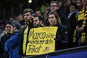 Fussball: Deutschland, 1. Bundesliga, Hamburger SV - BVB Borussia Dortmund, Hamburg, 20.11.2015<br /> <br /> BVB-Fan mit Marco Reus Transparent<br /> <br /> © Torsten Helmke