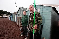 UK ENGLAND DEVON TEIGNMOUTH 10SEP16 - Anglers Pete Davey (48), a chef and carpenter Gerry Chenery (45, R) of Lapford at Teignmouth harbour, Devon, England.<br /> <br /> jre/Photo by Jiri Rezac<br /> <br /> © Jiri Rezac 2016