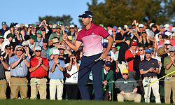 Sergio Garcia fist pumps following his round on the 18th green during the third round of the Masters Tournament at Augusta National Golf Club in Augusta, Ga., on Saturday, April 8, 2017. (Photo by Brant Sanderlin/Atlanta Journal-Constitution/TNS) *** Please Use Credit from Credit Field ***