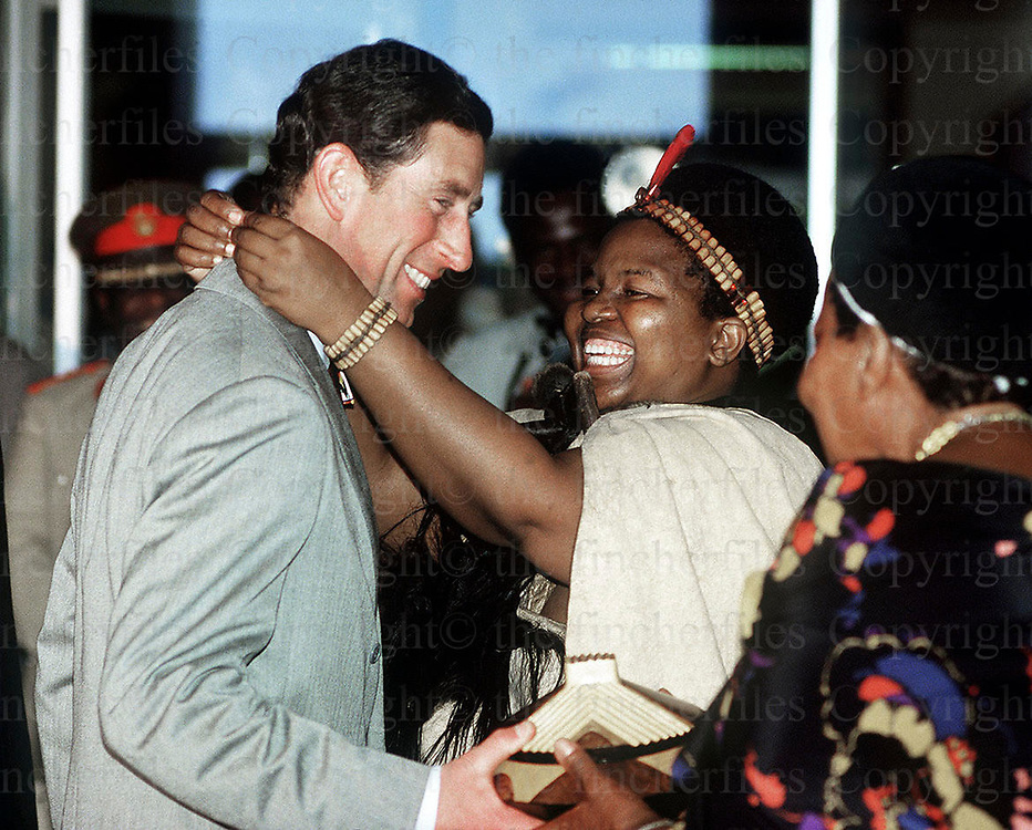 Prince Charles, the Prince of Wales is welcomed by the Queen Mother, known as Ntombi (the she elephant) as he arrives at the Lozitha Palace in Swaziland.1987. Photograph by Terry Fincher