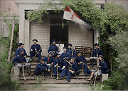 Stunning portraits from American Civil War  bright back to life in colour<br /> <br /> General Torbert and his staff during the American Civil War<br /> <br /> SHERIDANS CAVALRY IN THE SHENANDOAH—GENERAL TORBERT AND HIS STAFF Shcriilan appointed Gonoral Alfred T. A. Torbcrt Chief of Cavalry of the Army of the Shenandoah in August, 1864. General Tor-bert had been a regular army officer and was now a major-general of volunteers. This photograph was taken in 18G+, on the vine-covered veranda of a Virginia mansion occupied as headquarters. In all the operations in the Valley during September andOctober, Sheridan made such good use of the cavalry that this branch of the service leaped into prominence, and received a goodlyshare of the praise for eliminating the Valley of Virginia from the field of war.<br /> ©Frédéric DurIiez/Exclusivepix Media