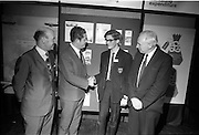 Young Scientists Exhibition.1969..01/01/1969.1st January 1969..The Aer Lingus Young Scientist Exhibition 1969 at the RDS..Picture shows Brian Lenihan T.D. (second from left) congratulating Luke O'Connor Drury winner of the Young Scientist of the year award, with Patrick Lynch, (right) Chairman of the Board of Aer Lingus and Michael Dargan, General Manager.  .