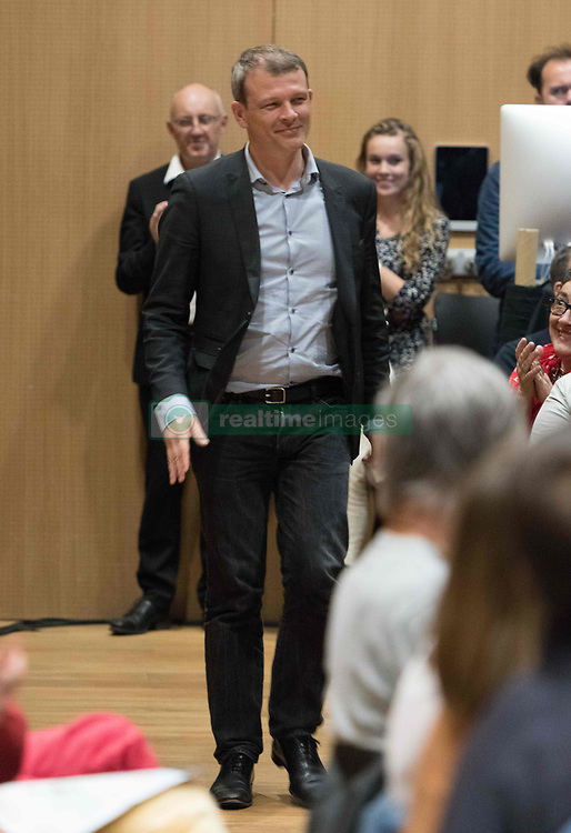 May 24, 2019 - Rennes, France - Guillaume Balas, MEP/European Deputy and candidate on the ''European Spring'' list for the European elections of May 26 gave his last campaign meeting in Rennes, France, on 24 May 2019. He was surrounded by colisseurs Isabelle Thomas, MEP, Guillaume Balas, MEP, Francoise Sivignon, former president of Médecins du Monde, Eric Pliez, president of Samu social de Paris and Emmanuelle Justum, jurist. (Credit Image: © Estelle Ruiz/NurPhoto via ZUMA Press)