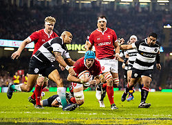 Wales Justin Tipuric goes over only for it to be disallowed<br /> <br /> Photographer Simon King/Replay Images<br /> <br /> Friendly - Wales v Barbarians - Saturday 30th November 2019 - Principality Stadium - Cardiff<br /> <br /> World Copyright © Replay Images . All rights reserved. info@replayimages.co.uk - http://replayimages.co.uk