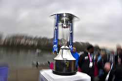 March 24, 2018 - London, United Kingdom - The Cancer Research UK trophy is pictured at the race start, London on March 24, 2018. Cambridge were victorious in both The Cancer Research UK Women's Boat Race 2018 and The Cancer Research UK Men's Boat Race 2018. (Credit Image: © Alberto Pezzali/NurPhoto via ZUMA Press)