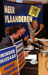 BRUSSELS, BELGIUM - MAY-4-2004 - Frank Vanhecke and Filip Dewinter of the Vlaams Blok,(VLAAMS BELANG) the extreme right political party in the Flemish region of Belgium. (PHOTO © JOCK FISTICK)