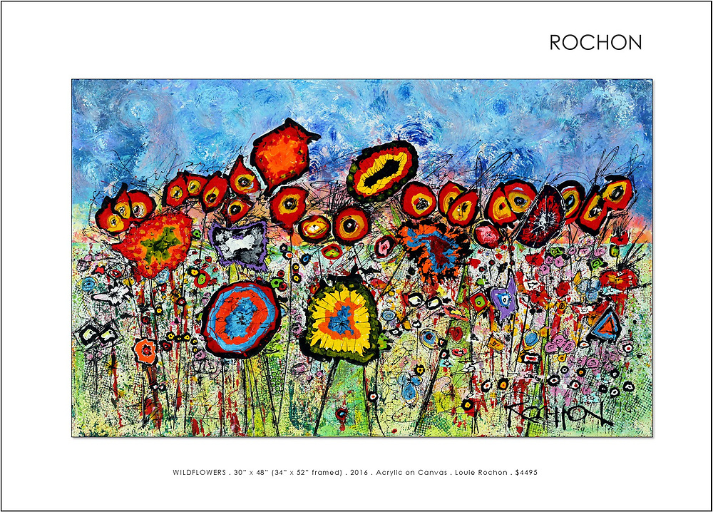 'WILDflowers' <br /> <br /> One of my most popular pieces.<br /> Occasionally, not my usual painting style, these little critters show up and demand that they be given life, allowed to come together and play. Who am I to deny them this opportunity. They each have their own personalities. They want to sing and dance and celebrate life.<br /> <br /> Many things going on in this painting - you can gaze for quite awhile and not see all there is to see - playful and relaxing or tormenting - guess it all depends on where your head is at. A great deal of detail.<br /> <br /> I'd mentioned that this painting is 'not my usual style.' A word about that.<br /> I allow, always have, the blank canvas to dictate what will appear. This frustrates the hell out of me sometimes, when I have different intentions, but to not allow the work to go where it must, would be to allow myself to be dishonest. <br /> <br /> How can I be truly creative if I can't be free to totally change directions from painting to painting. I've completely changed style in the middle of a painting - Why Not! The painting style is, in my opinion, secondary to the story I am trying to tell. It's just paint. I try not to take things to seriously or my work will tighten up and be less interesting and bound up. I hope you find it interesting as well.<br /> <br /> Enjoy.<br /> <br /> NOTE: Frames are custom made for my paintings with extra wide space for floating the canvas to accentuate the artwork. I've also added a small inner wood trim recessed within the recess to add a small accent.