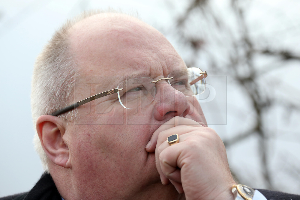 © Licensed to London News Pictures. 26/02/2015. Wells, UK Eric Pickles, Secretary of State for Communities and Local Government, looking at Green field sites in Wells today 26th February 2015, which may be developed into housing in the future . Photo credit : Jason Bryant/LNP