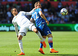 Martin Olsson of Swansea City battles with Xherdan Shaqiri of Stoke City Mandatory by-line: Nizaam Jones/JMP- 13/05/2018 - FOOTBALL - Liberty Stadium - Swansea, Wales - Swansea City v Stoke City - Premier League
