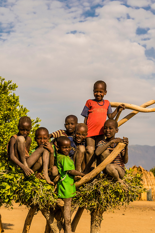 A group of Arbore tribe boys in their village, Omo Valley, Ethiopia.