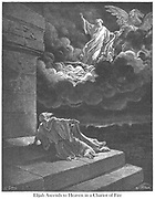 Elijah Taken Up To Heaven in a Chariot of Fire 2 Kings 2:11 From the book 'Bible Gallery' Illustrated by Gustave Dore with Memoir of Dore and Descriptive Letter-press by Talbot W. Chambers D.D. Published by Cassell & Company Limited in London and simultaneously by Mame in Tours, France in 1866