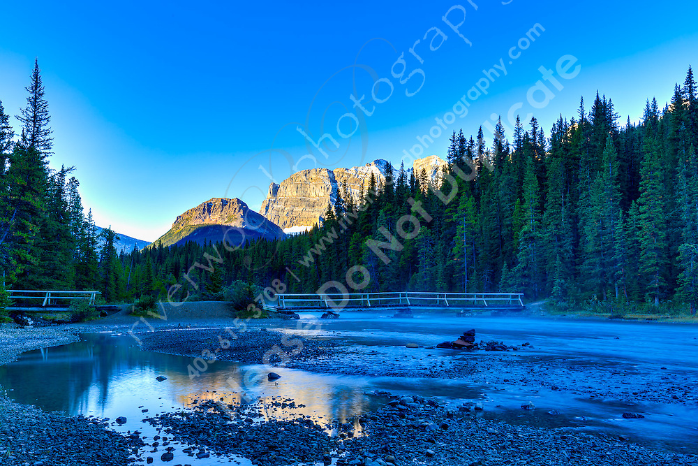 The Mistaya River from Upper to Lower Waterfowl Lake at Sunrise<br /> <br /> ©2015, Sean Phillips<br /> http://www.RiverwoodPhotography.com
