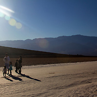 USA, California, Death Valley. Visitors to Badwater Basin, the lowest point in North America.