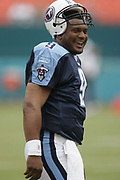 Tennessee Titans quarterback Steve McNair laughs before the Titans 17-7 victory over the Miami Dolphins on September 11, 2004 at Pro Player Stadium in Miami, Florida.