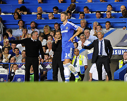 "Aston Villa Manager, Paul Lambert and Chelsea Manager, Jose Mourinho don\t see eye to eye  - Photo mandatory by-line: Joe Meredith/JMP - Tel: Mobile: 07966 386802 21/08/2013 - SPORT - FOOTBALL - Stamford Bridge - London - Chelsea V Aston Villa - Barclays Premier League - EDITORIAL USE ONLY. No use with unauthorised audio, video, data, fixture lists, club/league logos or ""live"" services. Online in-match use limited to 45 images, no video emulation. No use in betting, games or single club/league/player publications"