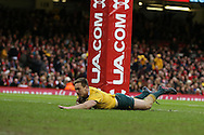 Dane Haylett-Petty of Australia scores a try in the 2nd half. Under Armour 2016 series international rugby, Wales v Australia at the Principality Stadium in Cardiff , South Wales on Saturday 5th November 2016. pic by Andrew Orchard, Andrew Orchard sports photography