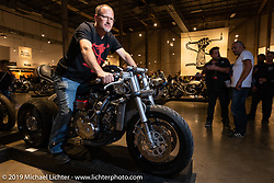 Bryan Stalcup on his CBR 600 custom with extending rear swingarm at the Handbuilt Show. Austin, TX. USA. Friday April 20, 2018. Photography ©2018 Michael Lichter.