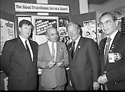 Charles Haughey Visits The Community Games. (T5)..1989..03.10.1989..10.03.1989..3rd September 1989..An Taoiseach, Charles Haughey TD,accompanied by Mr Frank Fahey, TD, Minister of State with responsibility for Youth and Sport attended the Twentieth National Finals of the Community Games at Mosney,  Co.Meath yesterday...Picture shows An Taoiseach, Charles Haughey TD, at the Blood Transfusion stand at the community games.