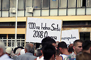 Mitrovica {southern side}, Kosovo<br /> Friday, July 4, 2008<br /> <br /> Cheering we want green no gassing, into the Southern Mitrovica some hundreds of Kosovo Albanians begin their demonstration against imparking of toxic scows, these scows are restrained with the Disulphide acid.<br /> Partakers of this peacefully protest also were and the Albanian religious community both Christians and Muslims.<br /> <br /> Demonstratorís requests were: Immediately Expatriation of the toxic scows from Kosovo and than all time under the civil society monitoring rolls...<br /> Their watchwords of the protest were: ì9 Year juggler and now desolatedî, ìFrom North is exiling, and into the Southern weíre desolatedî, in 1990 desolate to us Serbia ñ 2008 the Governmentî est..!<br /> <br /> PICTURED: The protestors watchword<br /> VEDAT Xhymshiti / ZUMA Press
