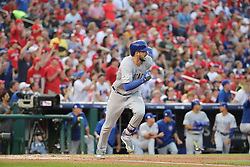 October 7, 2017 - Washington, DC, USA - The Chicago Cubs' Kris Bryant doubles in the fourth inning against the Washington Nationals during Game 2 of the National League Division Series at Nationals Park in Washington, D.C., on Saturday, Oct. 7, 2017. (Credit Image: © Brian Cassella/TNS via ZUMA Wire)