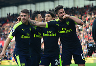 Olivier Giroud of Arsenal  ® celebrates after he scores his teams 4th goal. Premier league match, Stoke City v Arsenal at the Bet365 Stadium in Stoke on Trent, Staffs on Saturday 13th May 2017.<br /> pic by Bradley Collyer, Andrew Orchard sports photography.