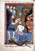 Baptism of Jesus by John the Baptist.  From Armenian Evangelistery, 1587. Manuscript.