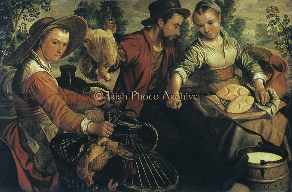 At Market', 1564. Oil on wood: Joachim Beuckelaer (c1533-1574) Flemish painter and draftsman. Woman on left holds two  live chicken she has brought to market in the wicker cage her right hand is resting on. Her left hand is touching a basket of eggs.  Man holds up two live birds by their legs