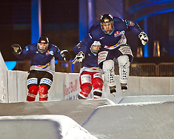 03-02-2012 SKATING: RED BULL CRASHED ICE WORLD CHAMPIONSHIP: VALKENBURG<br /> Andreas Wirnstl GER during a training session<br /> ©2012-FotoHoogendoorn.nl/Peter Schalk