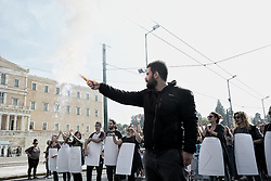 November 1, 2018 - Athens, Greece - A protester seen holding a flare during the University students protest in Athens. (Credit Image: © Giorgos Zachos/SOPA Images via ZUMA Wire)