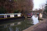 A083X6 Narrow boats Somerset Coal canal Limpley Stoke near Bath England